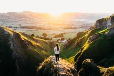 sustainable leader overlooking valley